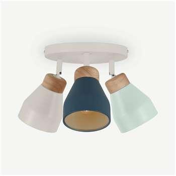 Albert Spotlight Round, Duck Egg Blue, Muted Grey & Dusk Blue (H22 x W29 x D29cm)