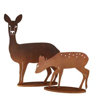 ALBERTO 2 Brown Metal Deer Garden Decorations