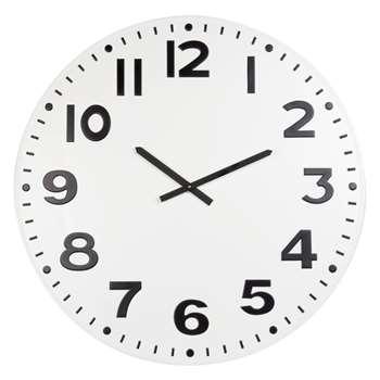 ALBY - Black and White Metal Clock (Diameter 78cm)