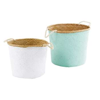 ALCIRA 2 Green and White Woven Seagrass Baskets (H43 x W49 x D49cm)