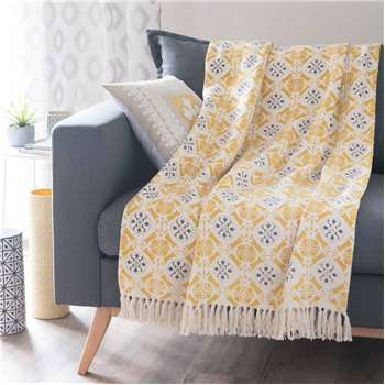 ALCOBACA cotton throw, yellow/grey (160 x 210cm)