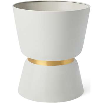 Alda Totem Planter, Natural White & Gold (H39.5 x W34 x D34cm)