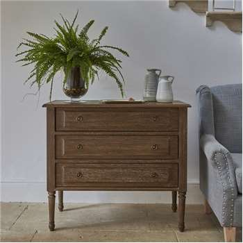 Alexandre Chest Drawers Table Natural Wood (H80 x W90 x D40cm)