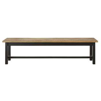 ALFRED - Matte Black Metal and Solid Mango Wood Bench (H46 x W180 x D38cm)