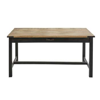 ALFRED Metal and Mango Wood 6-8 Seater Dining Table (H160 x W78 x D91cm)