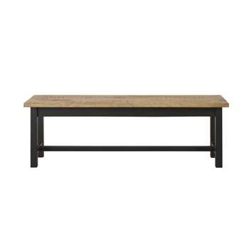 ALFRED - Solid Mango Wood and Black Metal Bench (H46 x W140 x D38cm)