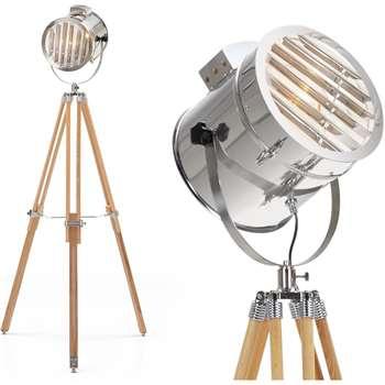 Alfred Tripod Floor Lamp, Natural Wood (H165 x W75 x D24cm)