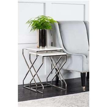Alhambra Silver Nesting tables (H55 x W40 x D40cm)
