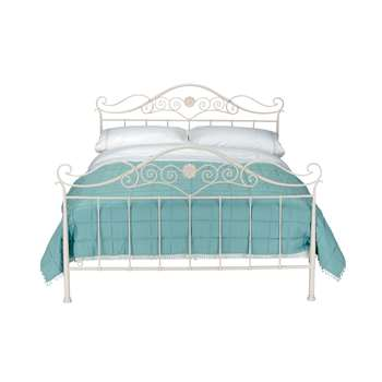 Alice Ivory Bed & Open Coil Mattress Double (111 x 150cm)