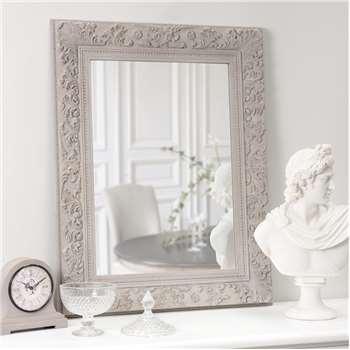 ALIÉNOR wooden mirror in beige H 90cm