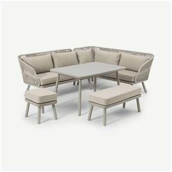 Alif Garden Corner Dining Set, Natural White & Eucalyptus (H83 x W221 x D174cm)