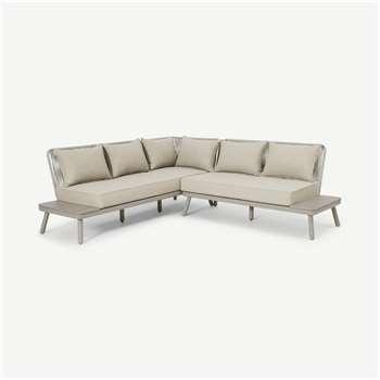 Alif Garden Corner Lounge Set, Natural White & Eucalyptus (H80 x W222cm)