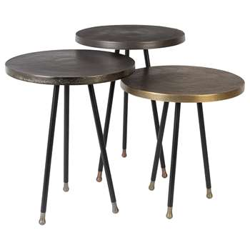 Alim Set Of 3 Side Tables in Mixed Metals (48 x 35.5cm)