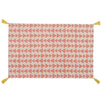 ALIX Pink Cotton Rug With Triangle Motifs (H120 x W180cm)