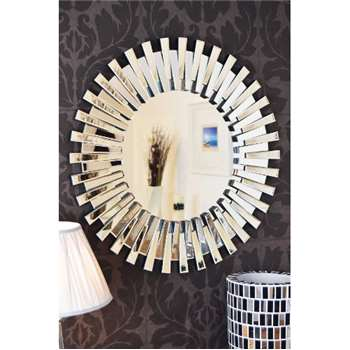 All Glass Round Sunburst Venetian Wall Mirror (Diameter 91cm)