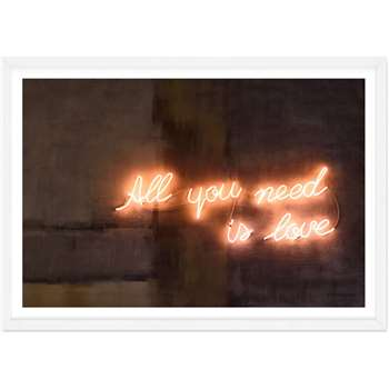 All You Need Is Love Neon Typography Framed Wall Art Print (H33 x W44 x D2cm)