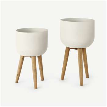 Allo Set of 2 Poly Resin Plant Stands, Large, Natural White (H73 x W40cm)