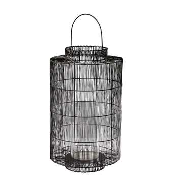 ALMA Glass and Black Metal Wire Lantern
