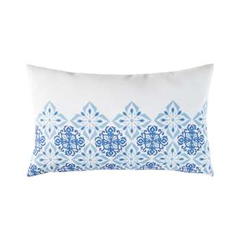 ALMADA White Outdoor Cushion with Blue Cement Tile Print (H30 x W50cm)