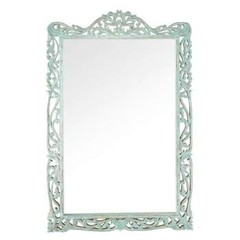 ALMENARA Blue Carved Mango Wood Mirror (H138 x W92 x D3.5cm)