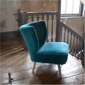 Alpana Teal Velvet Cocktail Chair (H72 x W56 x D79cm)
