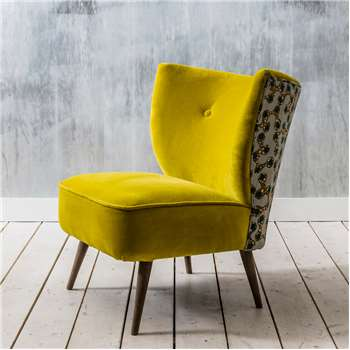 Alpana Printed Yellow Velvet Cocktail Chair (H72 x W56 x D79cm)