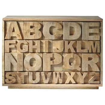 ALPHABET Mango wood cabinet W 120cm (85 x 120cm)