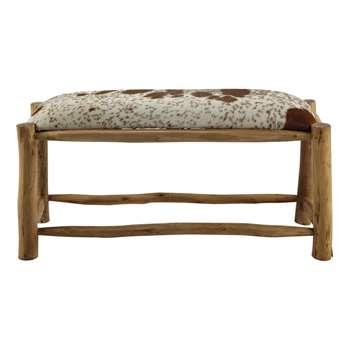 ALPIN mango wood and goatskin bench (56 x 10cm)