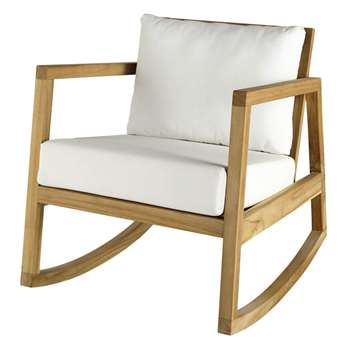ALPIN Teak and white fabric rocking armchair (76 x 66cm)