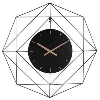 ALSTON - Black Metal Wire Clock (H60 x W60 x D5.5cm)