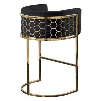 Alveare Bar Stool Brass - Black (H95 x W63 x D55cm)