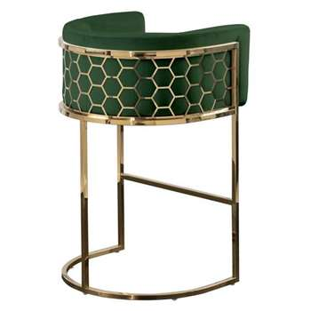 Alveare Bar Stool Brass - Bottle Green (H95 x W63 x D55cm)
