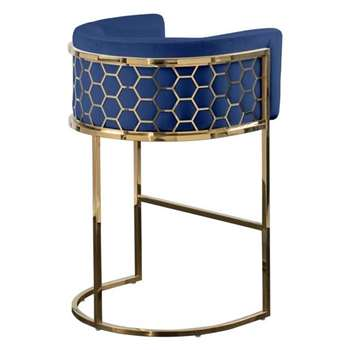 Alveare Bar Stool Brass - Ink Blue (H95 x W63 x D55cm)