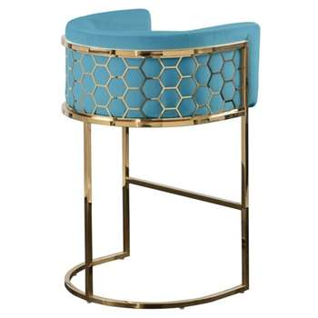 Alveare Bar Stool  Brass - Teal (H95 x W63 x D55cm)