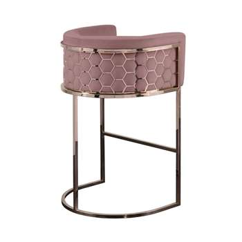 Alveare Bar Stool Copper - Blush Pink (H95 x W63 x D55cm)