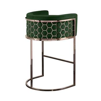 Alveare Bar Stool Copper - Bottle Green (H95 x W63 x D55cm)