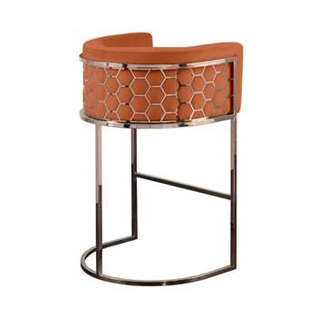 Alveare Bar Stool Copper - Orange (H95 x W63 x D55cm)