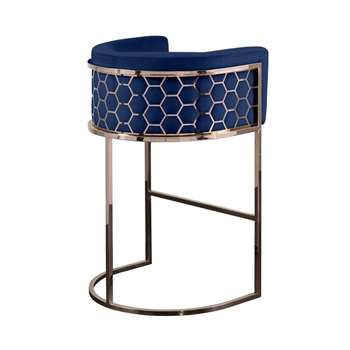 Alveare Bar Stool Copper - Royal Blue (H95 x W63 x D55cm)