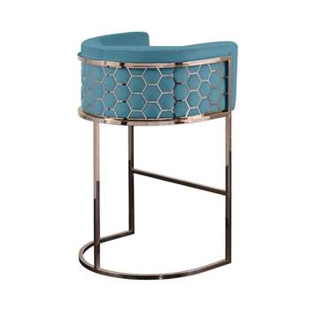 Alveare Bar Stool Copper - Teal (H95 x W63 x D55cm)