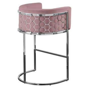 Alveare Bar Stool Silver - Blush Pink (H95 x W63 x D55cm)