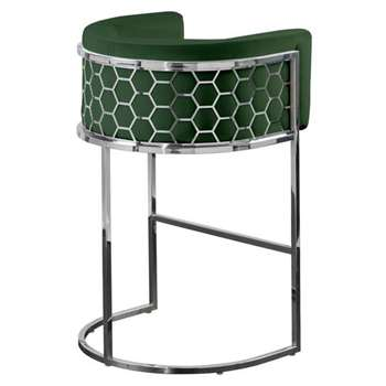 Alveare Bar Stool Silver - Bottle Green (H95 x W63 x D55cm)