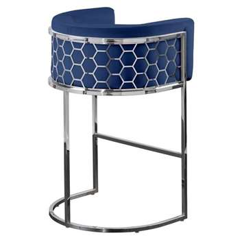 Alveare Bar Stool Silver - Ink Blue (H95 x W63 x D55cm)