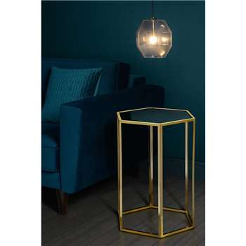 Alveare Brass and Antique Mirror Side Table (60 x 45cm)