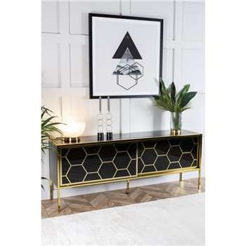 Alveare Brass and Black Glass Sideboard (H70 x W180 x D40cm)