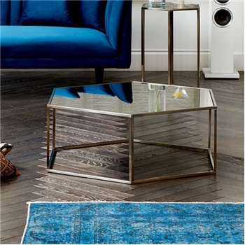 Alveare Brushed Chrome Coffee Table (H35 x W100 x D100cm)