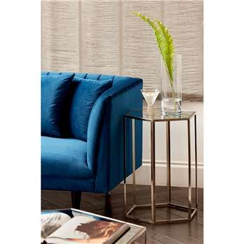 Alveare Brushed Chrome Side Table (H60 x W45 x D45cm)