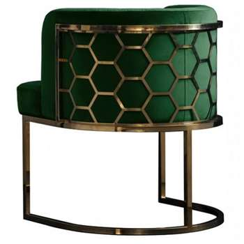 Alveare Dining chair Brass - Bottle Green (H75 x W60 x D60cm)