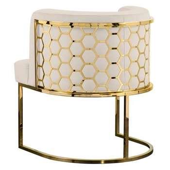 Alveare Dining Chair Brass - Chalk (H75 x W65 x D65cm)