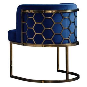Alveare Dining chair Brass - Ink Blue (H75 x W60 x D60cm)