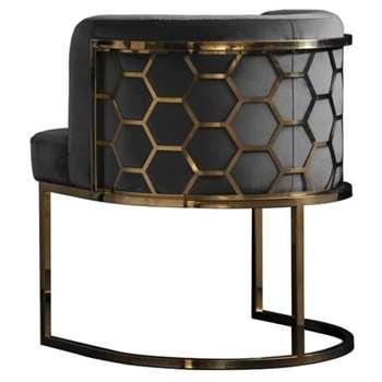 Alveare Dining chair Brass - Smoke (H75 x W60 x D60cm)